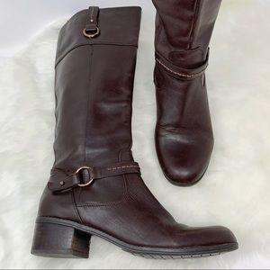 BANDOLINO brown leather boots knee high block heel